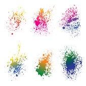 Set of watercolor ink splash on white background. Grunge element