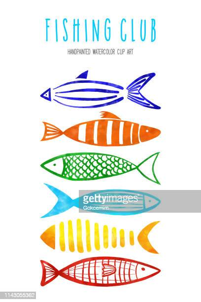set of watercolor red, orange, yellow, turquoise, blue and green fishes isolated on white background. tropical background, tropical design element, summer concept, coastal background. - humpback whale stock illustrations, clip art, cartoons, & icons