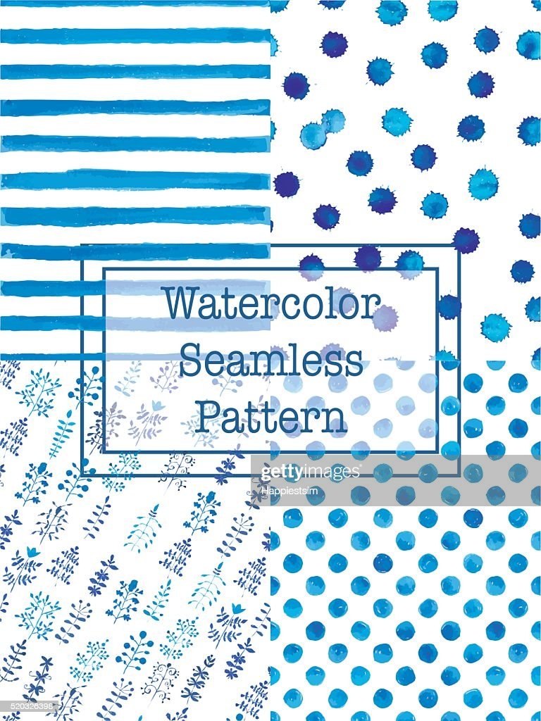 Set of watercolor seamless patterns blue color.