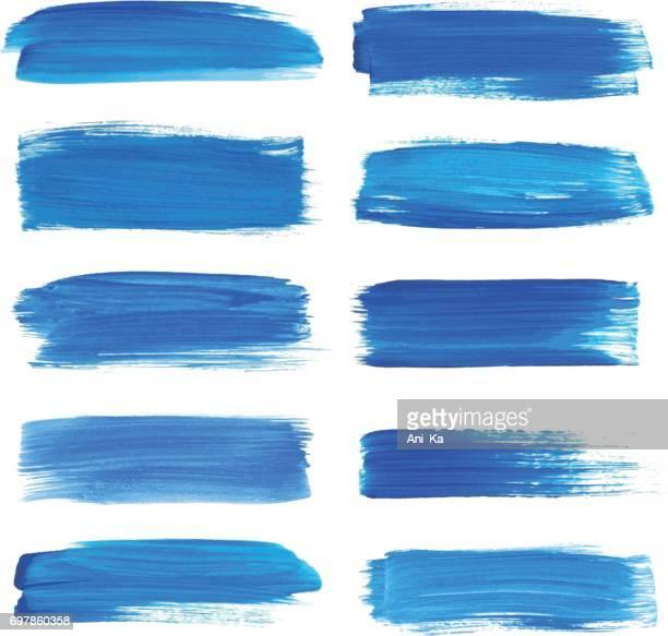 ilustraciones, imágenes clip art, dibujos animados e iconos de stock de conjunto de trazos de acuarela - azul