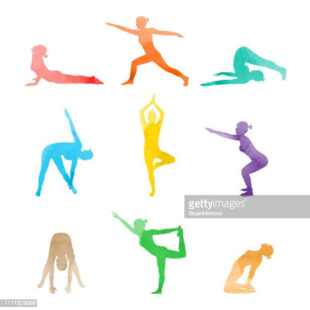 set of watercolor woman in various yoga poses stretching. vector - gymnastics stock illustrations
