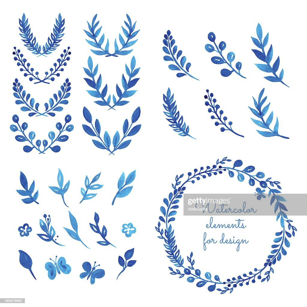 Set of watercolor wreaths and laurels.