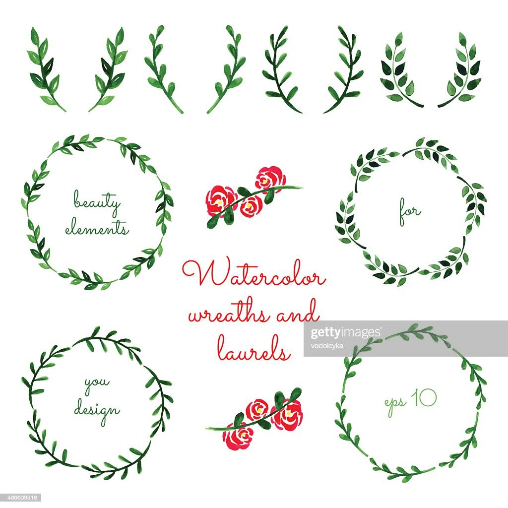 Set of watercolor wreaths and laurels.