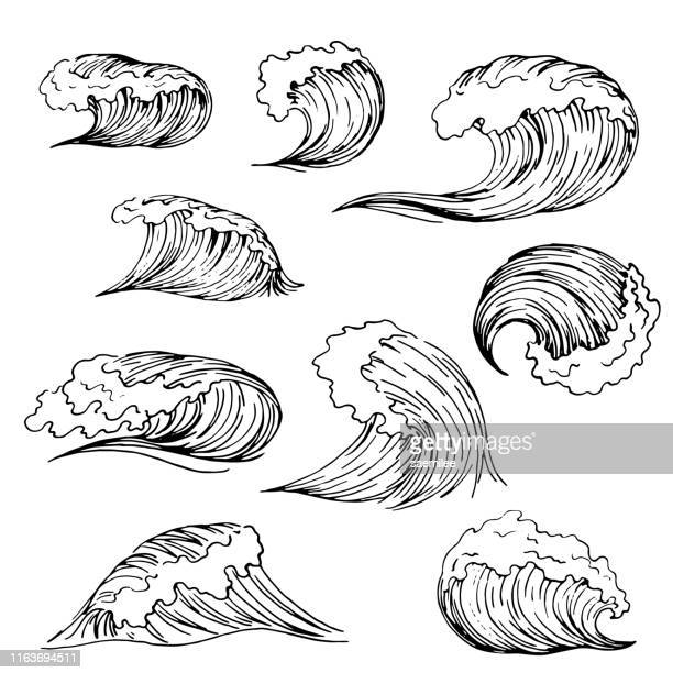 set of wave drawing - large stock illustrations