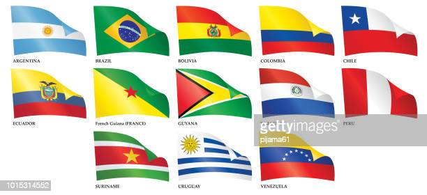 Set of  waving flags of South American countries.