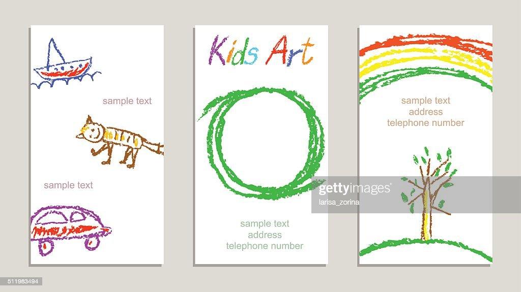 Set of wax crayon kid`s drawn colorful sample