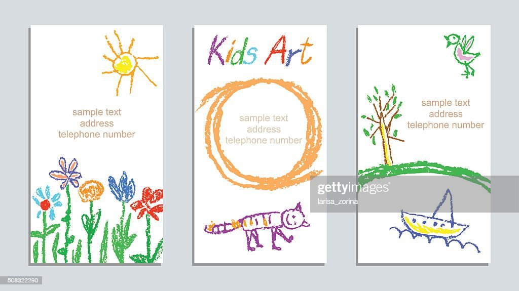 Set of wax crayon kid`s hand drawn colorful cards