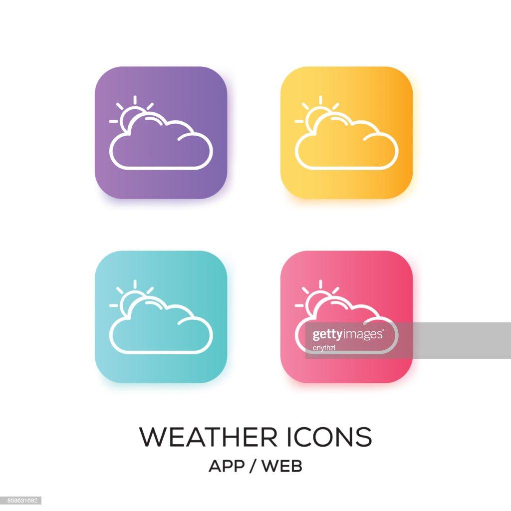 Satz von Wetter-App-Symbol : Stock-Illustration