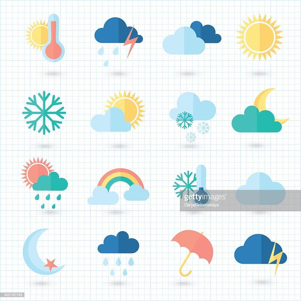 Set of weather icons on blueprint. Flat style