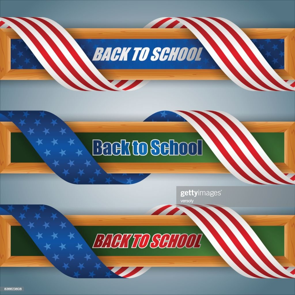 Set of web banners for Back to school, American event