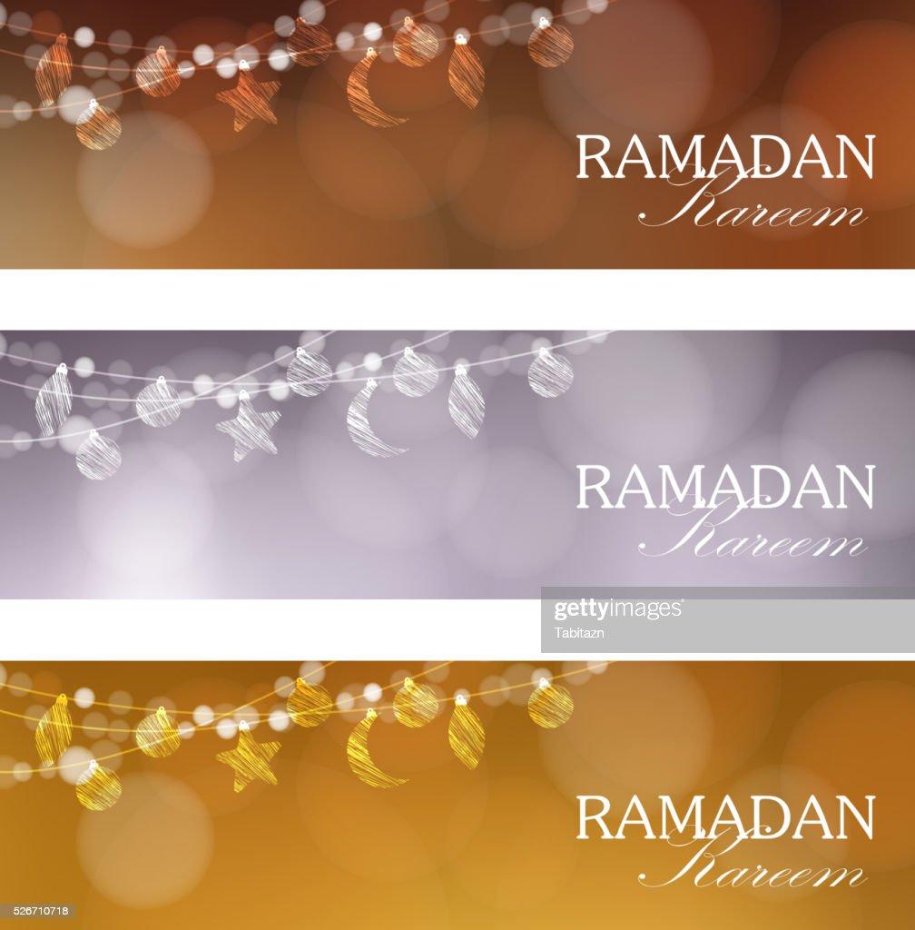 Set of web banners for muslim holy month Ramadan Kareem.