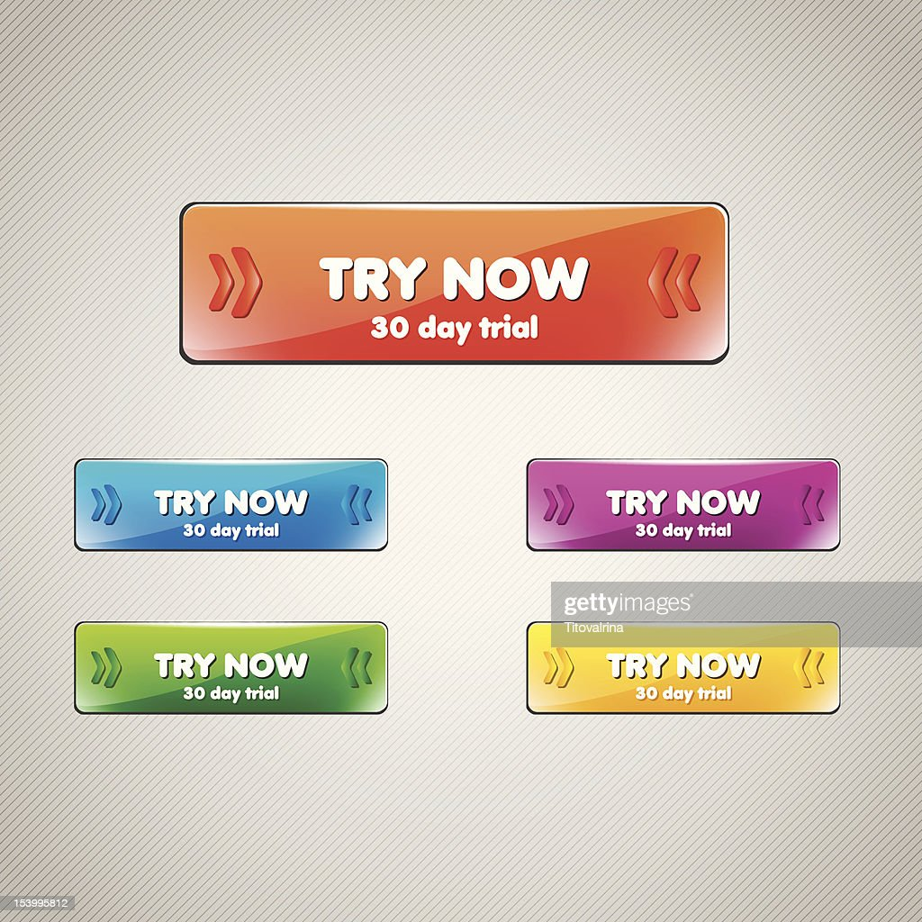 Set of Web buttons with words Try Now 30-day trial