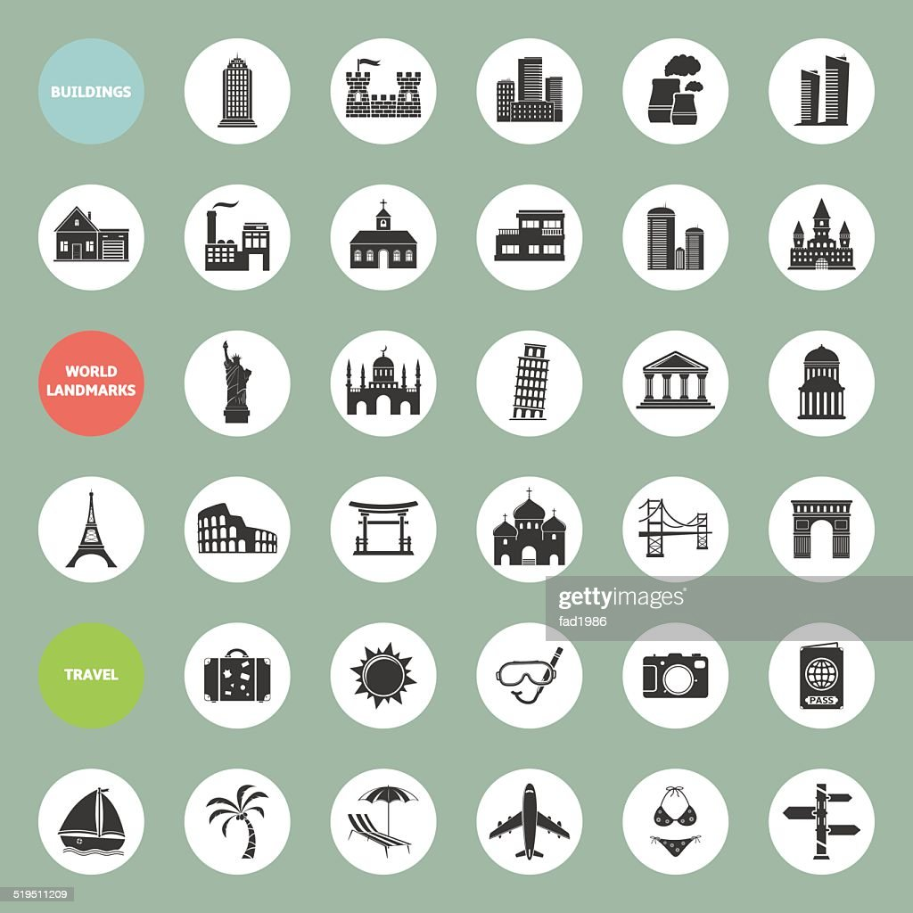 Set of web icons for buildings, landmarks and travel