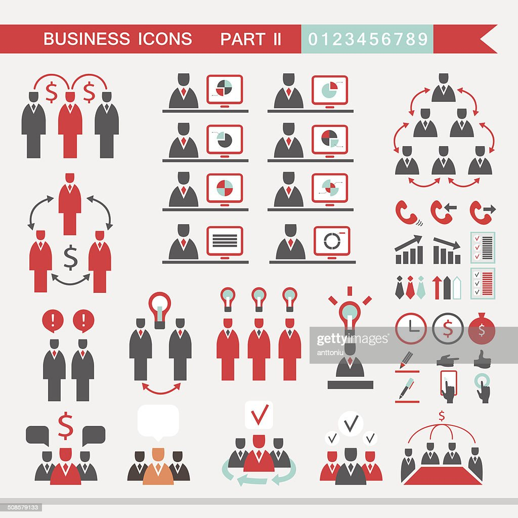 Set of web icons for business finance office communication : Vector Art