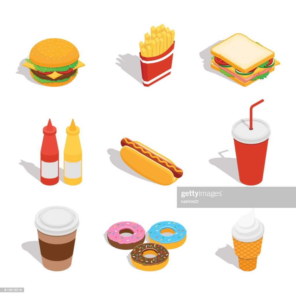 Set of web icons for fast food restaurant