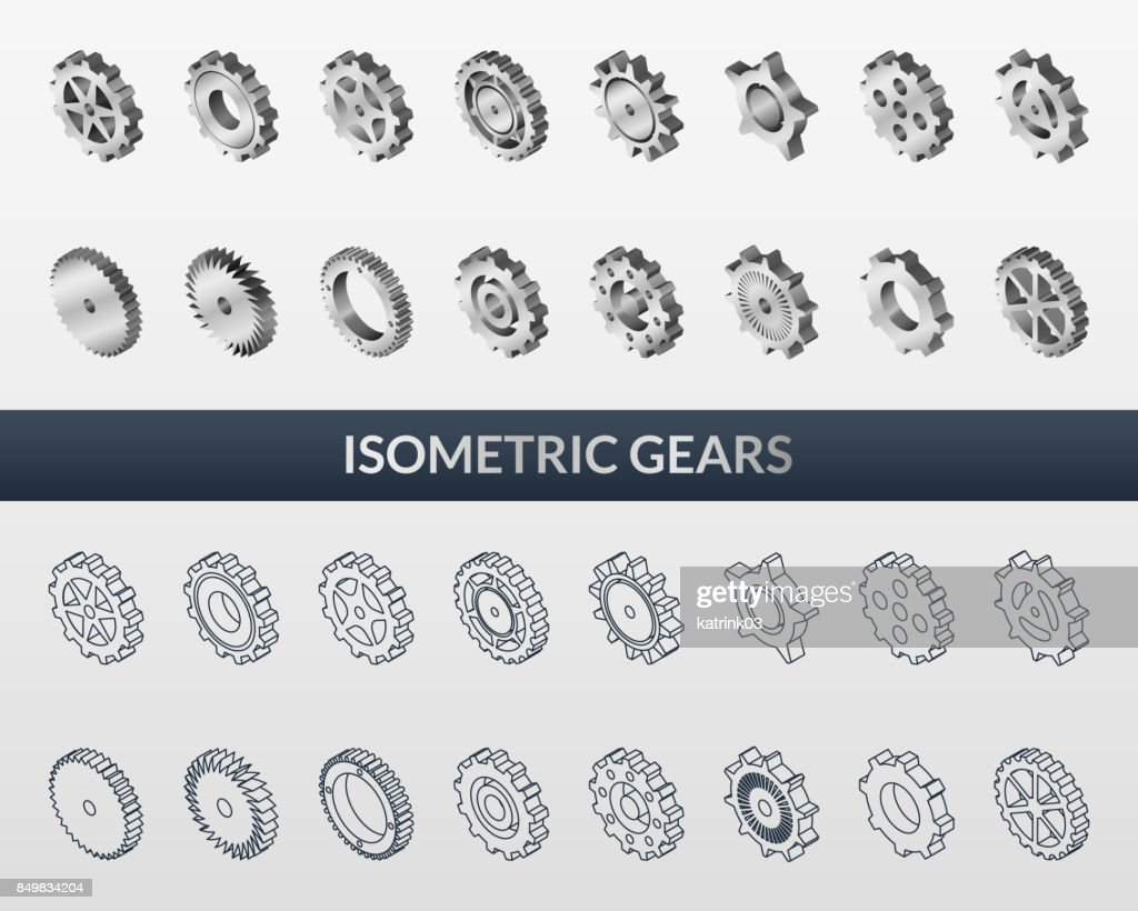Set of web icons mechanical gears