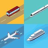 Set of web icons public passenger transport