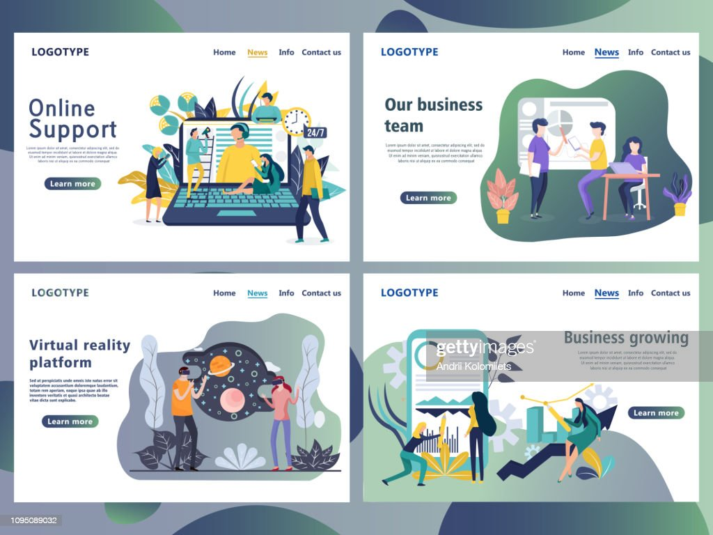 Set of web page design templates for business.