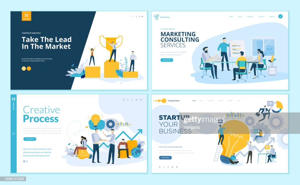 Set of web page design templates for creative process, business success and teamwork, marketing consulting