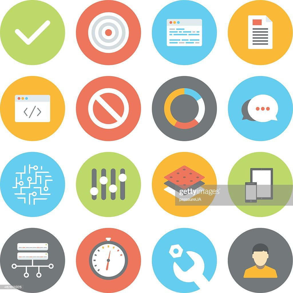 Set of web, user interface and programming icons