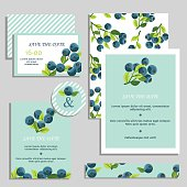 Set of wedding cards with blueberries.