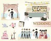 Set of wedding ceremony.Vector/Illustration