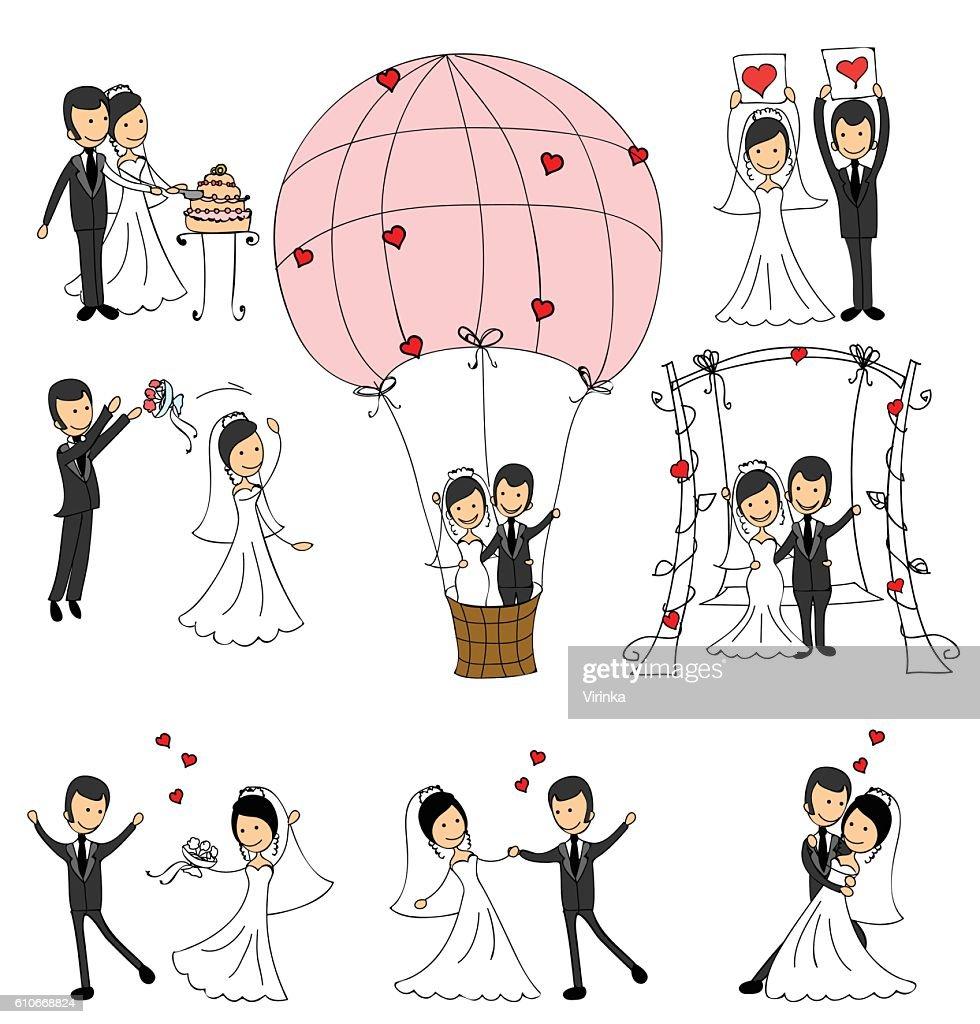Set of wedding couple illustrations