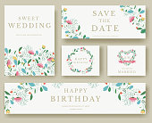 Set of wedding flower invitation cards