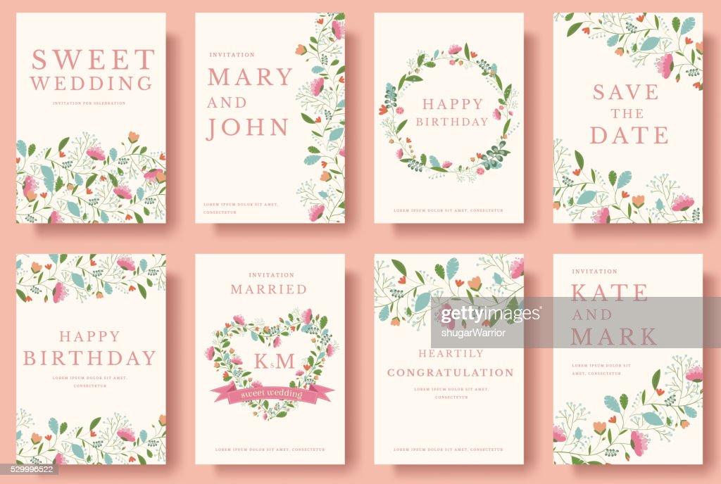 Set of wedding flower invitation cards