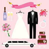 Set of wedding graphics for bride and groom