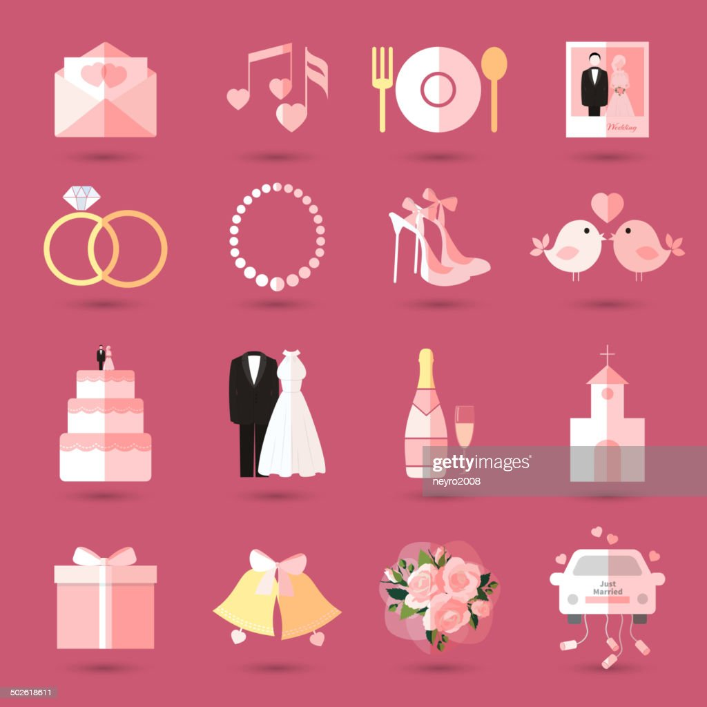 Set of wedding icons in flat style