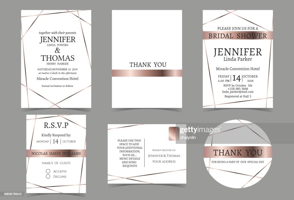 Set of Wedding Invitation card for Couple.Rose Gold and white Tone