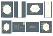 Set of Wedding Invitation Card. Gold Flowers Luxury on Navy Blue Background Concept.
