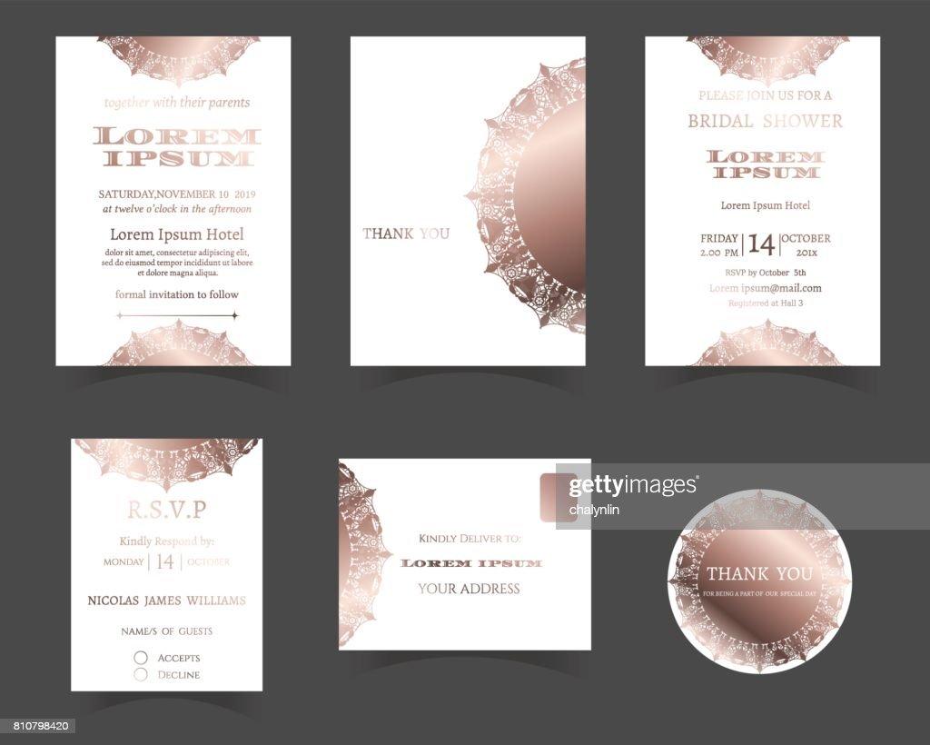 Set Of Wedding Invitation Card Laser Cut Collectionrose Gold
