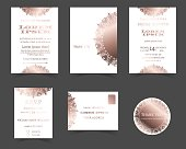 Set of Wedding Invitation Card. Laser Cut Collection.Rose Gold Style.
