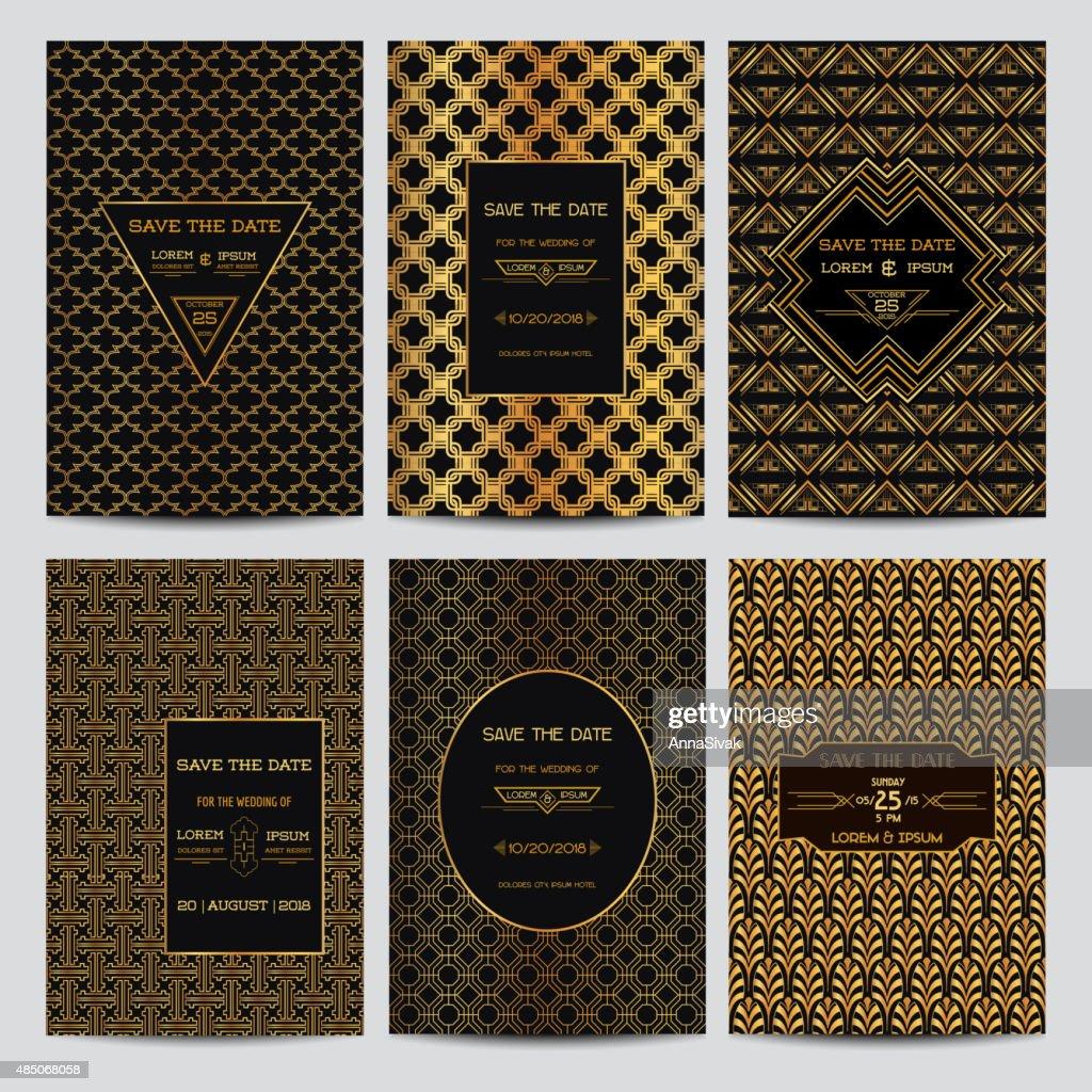 Set of Wedding Invitation Cards - Art Deco Vintage Style