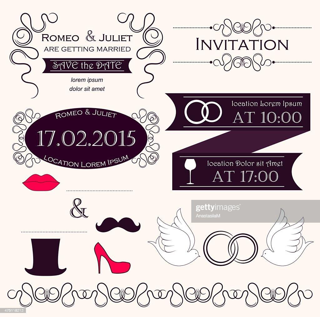 Set of wedding invitation elements