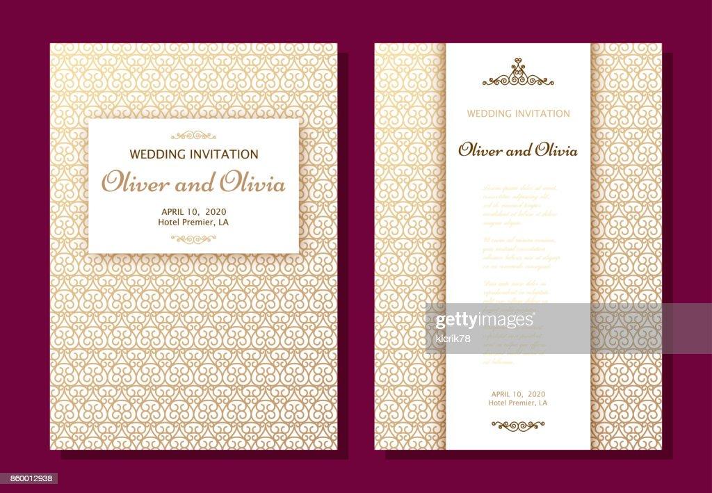 Set of wedding invitation templates cover design with gold swirl set of wedding invitation templates cover design with gold swirl ornaments vector art stopboris Images