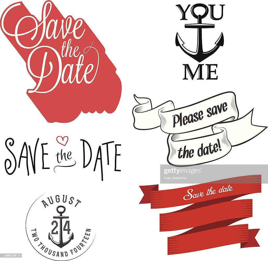 Set Of Wedding Invitation Typographic Design Elements Vector Art ...