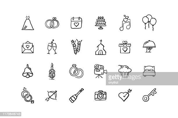 set of wedding related objects and elements. hand drawn vector doodle illustration collection. hand drawn icon set. - heart symbol stock illustrations