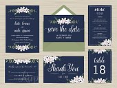 Set of wedding suite template decorate with flower wreath.