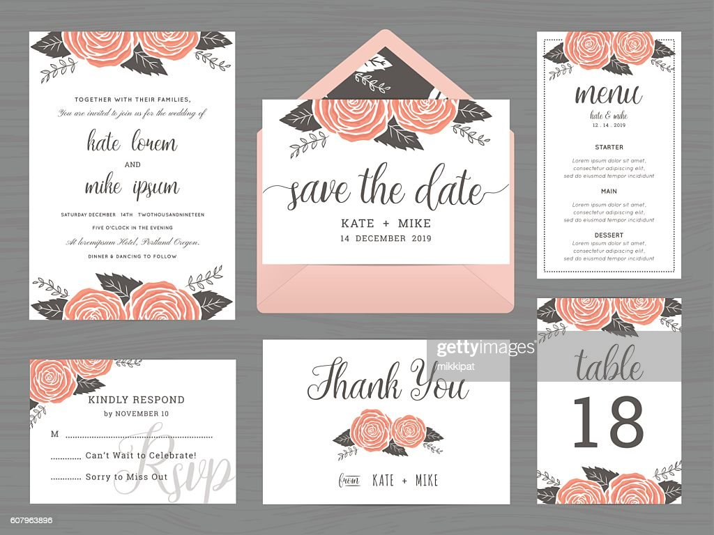 Set of wedding suite template decorate with rose flower.