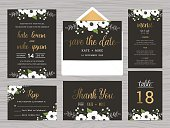 Set of wedding suite template decorate with white flowers.
