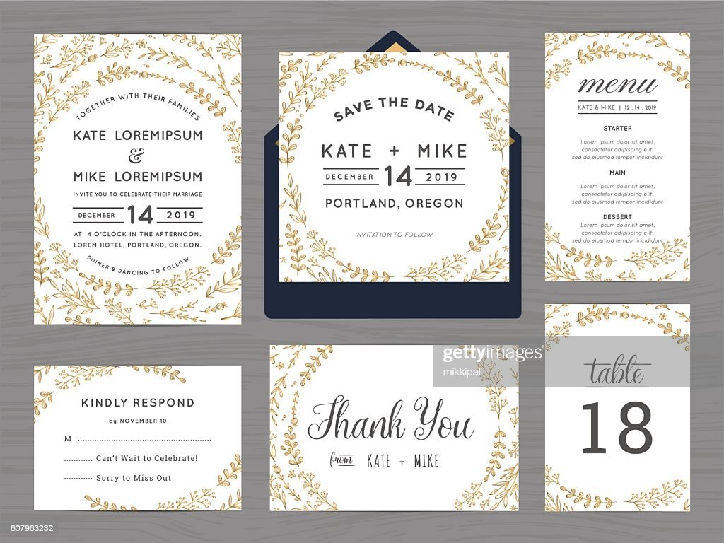 Set of wedding suite template decorate with wreath flowers.