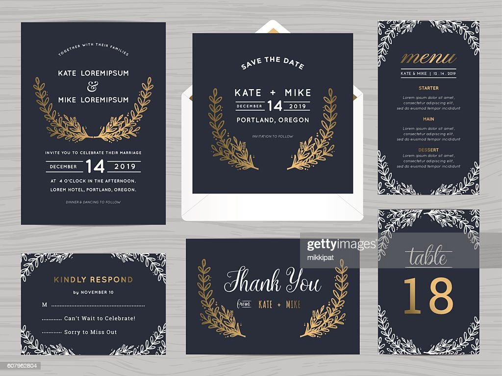Set of wedding suite template with flowers in navy blue.