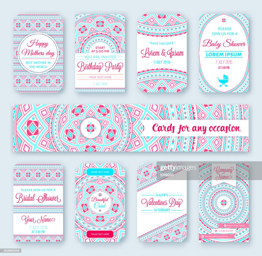 Set of wedding templates. Birthday cards. Tribal theme. Ideal for Save The Date. Baby shower. Valentines day. Mothers day. invitations.