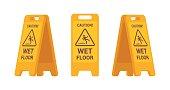 Set of wet floor sign