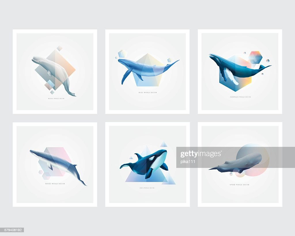 Set of whales with colorful geometric polygons