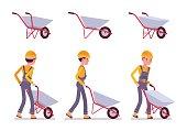 Set of wheelbarrow and builder