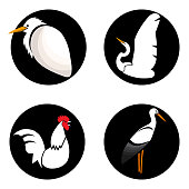 Set of white abstract birds on black circles